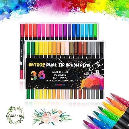 MTSCE 36 Farben Dual Tip Brush Pen Set, Filzstifte Pinselstifte Set für Bullet Journal Zubehör, Filzstifte Marker Malerei Graffiti Briefpapier Set für Studenten Erwachsene Malbücher Craft Doodling