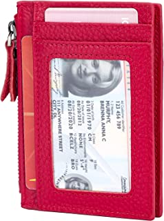 ANBENEED Genuine Leather Front Pocket Wallets Slim RFID Blocking Minimalist Credit Card Holder For Women (SFSW-Red)…