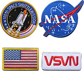 Bundle 4 Pieces Iron on or Sew on Military Tactical Morale Badge Emblem Patch - NASA Logo,100th Space Shuttle Mission, Golden Red USA Flag, NASA