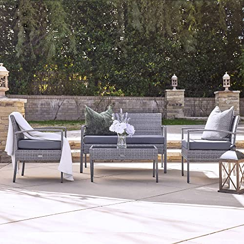 high quality BELLEZE 4PC Rattan Sectional Furniture Set wholesale with Seat Cushion Outdoor Garden online Wicker PE Wicker Sofa & Table, Gray outlet online sale