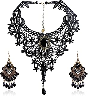 Elegant Vintage Black Lace Victorian Lolita Gothic Pendant Choker Necklace Earrings Set
