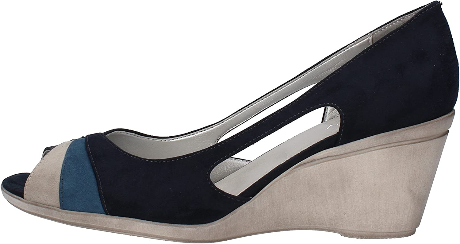 MARY COLLECTION Wedges-Sandals Womens Suede bluee