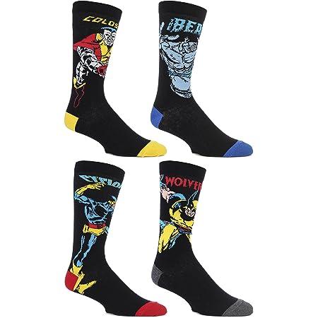 SockShop Mens 4 Pair Marvel X-Men Wolverine, Beast, Cyclops and Colossus Cotton Socks