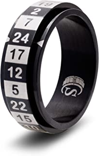 CritSuccess d24 Dice Ring with 24 Sided Die Spinner (Size 8 - Stainless Steel - Black)