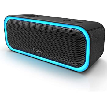 Bluetooth Speakers, DOSS SoundBox Pro Portable Wireless Bluetooth Speaker with 20W Stereo Sound, Active Extra Bass, Wireless Stereo Pairing, Multiple Colors Lights, IPX5, 20 Hrs Battery Life -Black