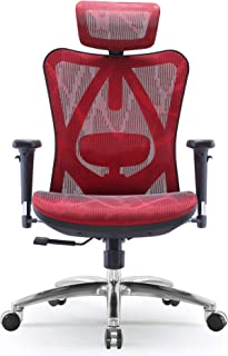 Sihoo Ergonomic Office Chair, Computer Desk Chair, 3D Adjustable High-Back, Breathable Skin-Friendly Mesh with Armrest, Lumbar Support (Red)
