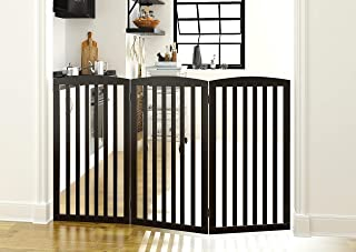 PAWLAND Wooden Freestanding Foldable Pet Gate for Dogs, 3 Panel,Step Over Fence, Dog Gate for The House, Doorway, Stairs, Extra Wide and Tall, Espresso