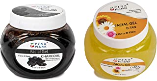 PINK PLUMS Glowing Charcoal and D-tan Facial Gel With Vitamin E, COMBO (PACK OF 2), Each 250 ml