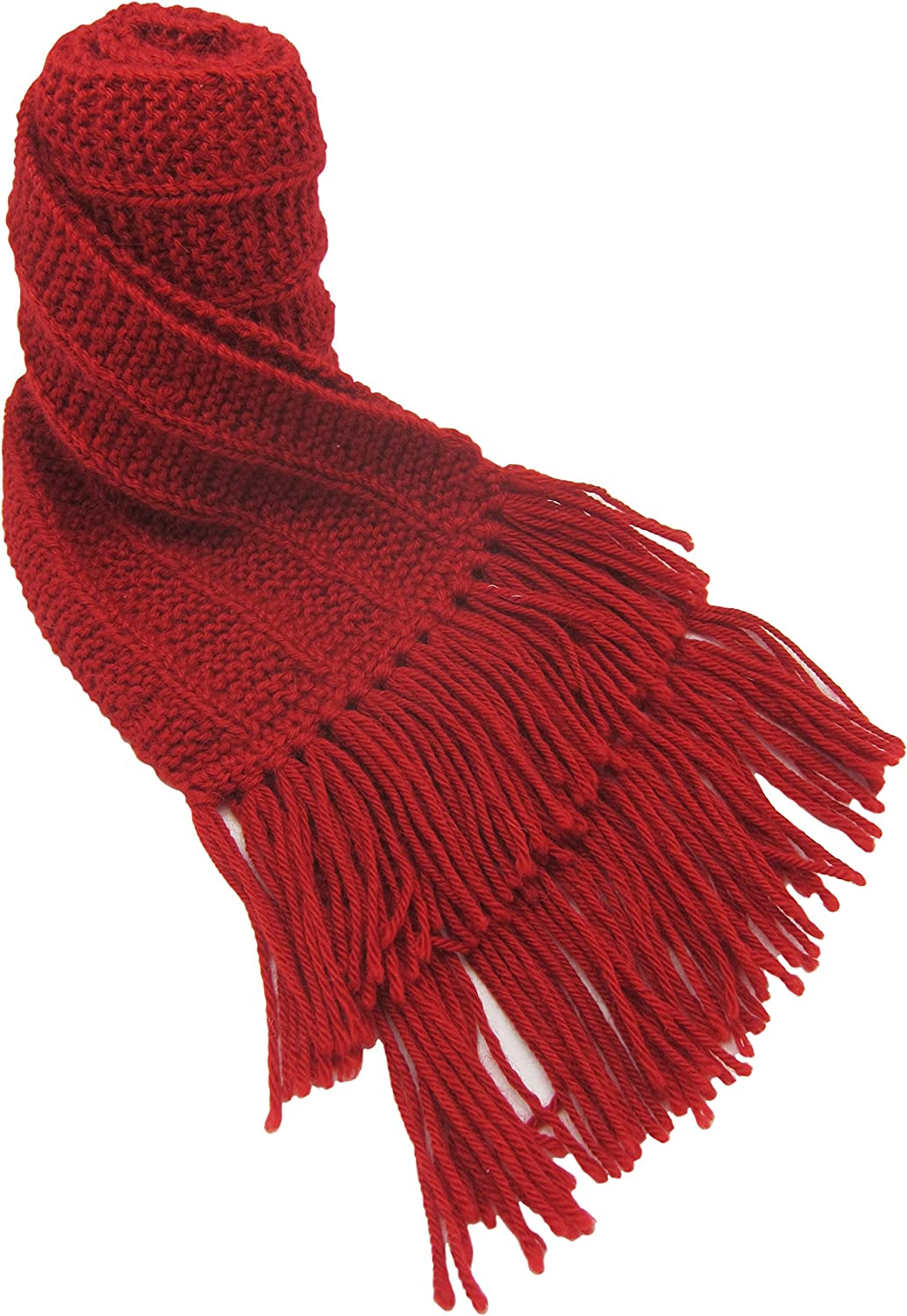 Handmade Pure Alpaca Knitted by Hand Scarf - Coziest Red (Made to Order)