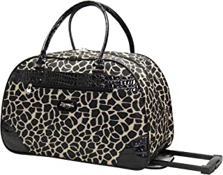 Women's 22 Inch Printed Rolling Carry-On (One Size, Black Tan Animal)