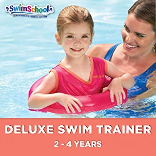 SwimSchool Toddler Swim Trainer Vest, Learn-to-Swim Inflatable Float with Adjustable Safety Strap, Heavy Duty, Red/Berry