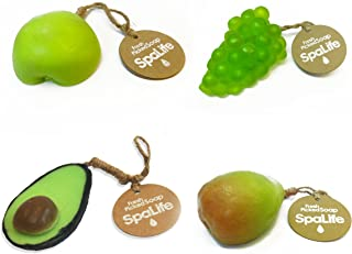 Spa Life Fresh Picked Scented Fruit Shaped Soap Green Apple, Pear, Avocado, Green Grapes 4 pack