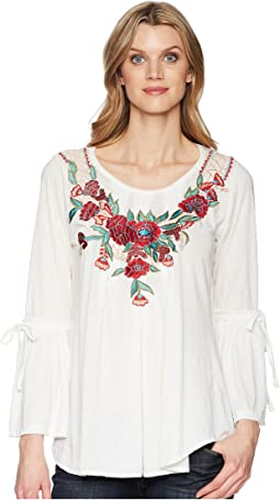 Scully Babe Soft Embroidered Bell Sleeve Tunic