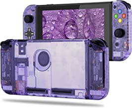 BASSTOP DIY Replacement Housing Shell Case Set for Switch NS NX Console and Right Left Switch Joy-Con Controller Without Electronics (Set D-Pad-Atomic Purple)