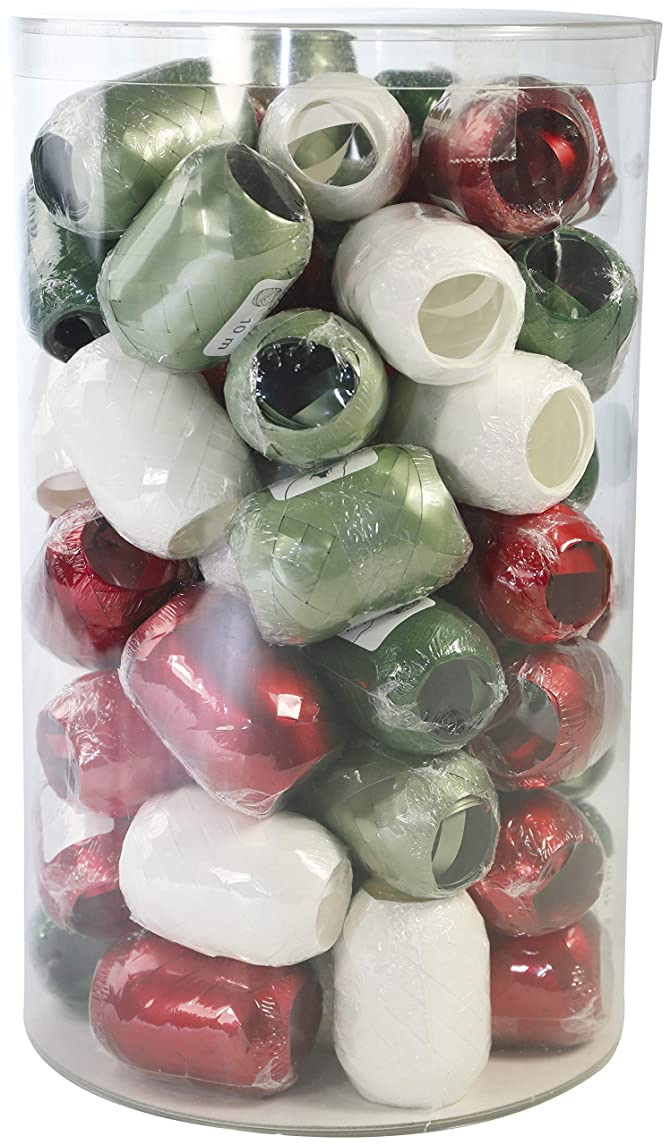 Clairefontaine 211391C Crystal Box with 60 Spools of Gift Ribbon 10 m x 0.70 cm Pack of 60 Red/White/Green