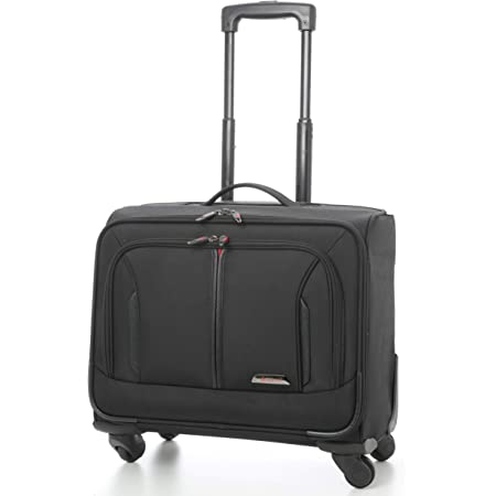 "Aerolite 18"" 4 Wheeled Laptop Bag Executive Business Bag Mobile Office Cabin Luggage Suitcase – Approved for Easyjet, BA & Jet2, Black (Black)"