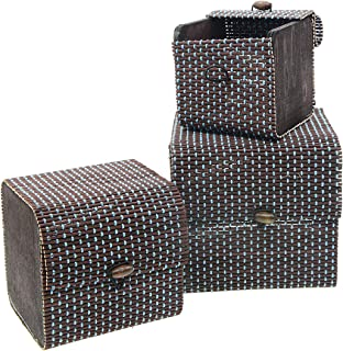 Saim 3PCS Grids Hand-Woven Wooden Storage Basket Decorative Box Jewelry Box Jewelry Organizer Cards Collection Gifts and H...