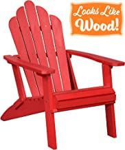 PolyTEAK Seashell Oversized Folding Poly Adirondack Chair, Cardinal Red | Adult-Size, Weather Resistant, Made from Plastic