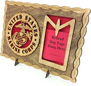 Armed Forces Marines Custom Laser Crafted Three Dimensional Wooden Dog Tag Holder Plaque