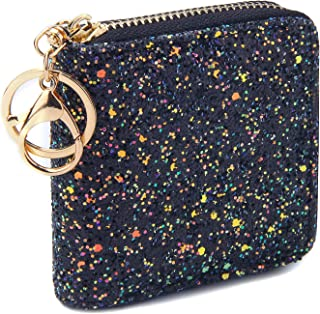 GEEAD Small Glitter Wallet for Women Girls Mini Coin Purse Pouches with Key Ring