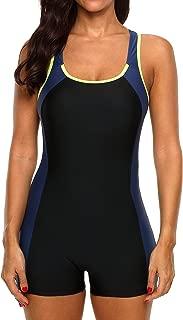 V FOR CITY Women's Boyleg Sports Swimwear One Piece Swimsuits Athletic Boy Short Swimsuit