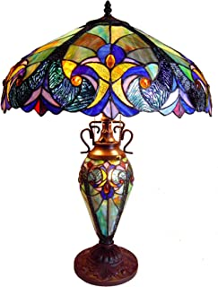 Chloe Lighting CH18780VT18-DT3 Tiffany-Style Victorian 3-Light Double Lit Table Lamp with 18