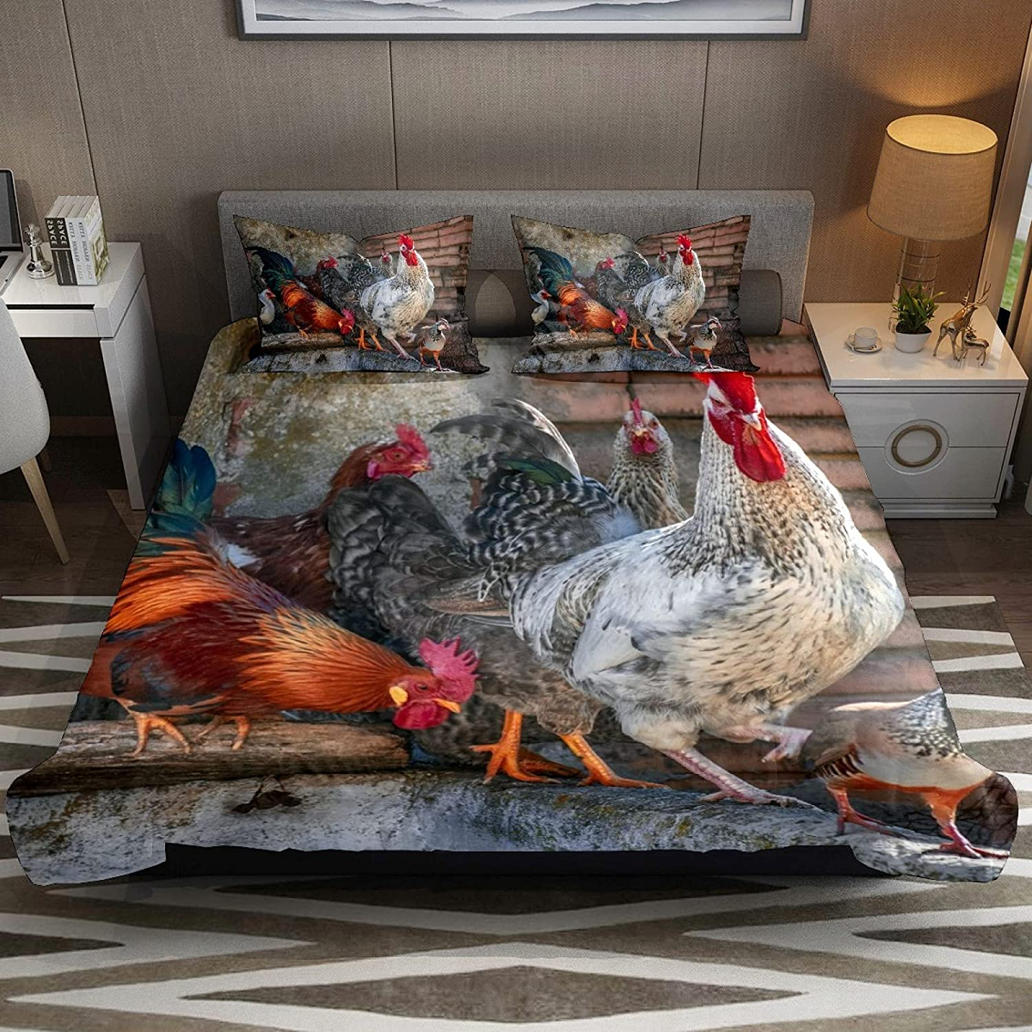 N\O 3 Piece Max 76% OFF Bedding Sets Poultry Set Cover Duvet Weekly update Rooster Chicken