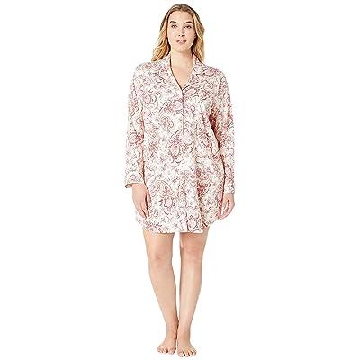 LAUREN Ralph Lauren Plus Size Classic Knit Long Sleeve Notch Collar Sleepshirt (Red Cream Paisley Print) Women