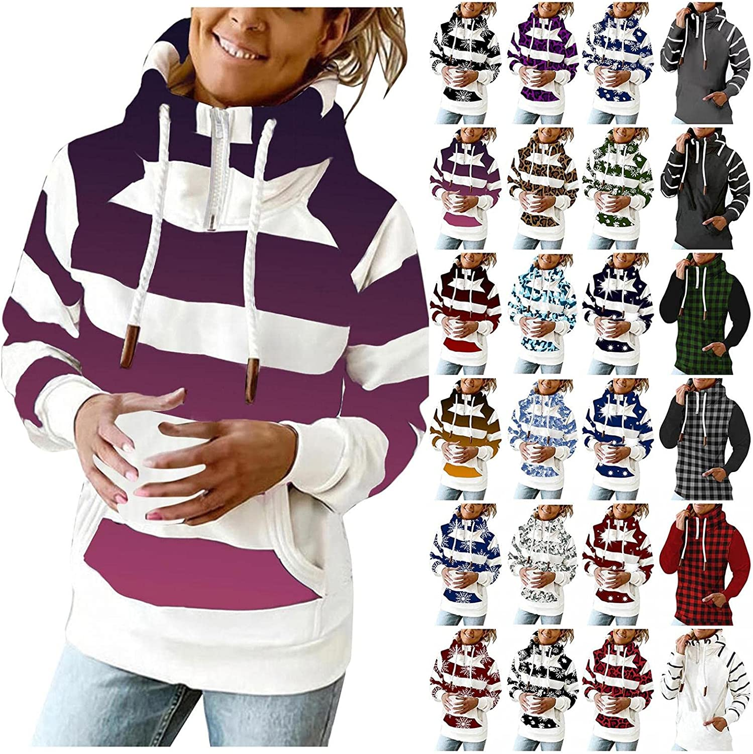 AODONG Hoodies for Women Zip Up Fashion Striped Hooded Pullover Tops Lightweight Long Sleeves Sweatshirts