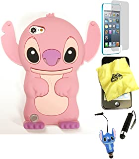 Bukit Cell 3D Case - 5 items: PINK 3D Cute Stitch Silicone Case for iPod Touch 6th/ 5th Generation + BUKIT CELL Cloth + Stitch Stylus Touch Pen + Screen Protector + METALLIC Stylus Touch Pen