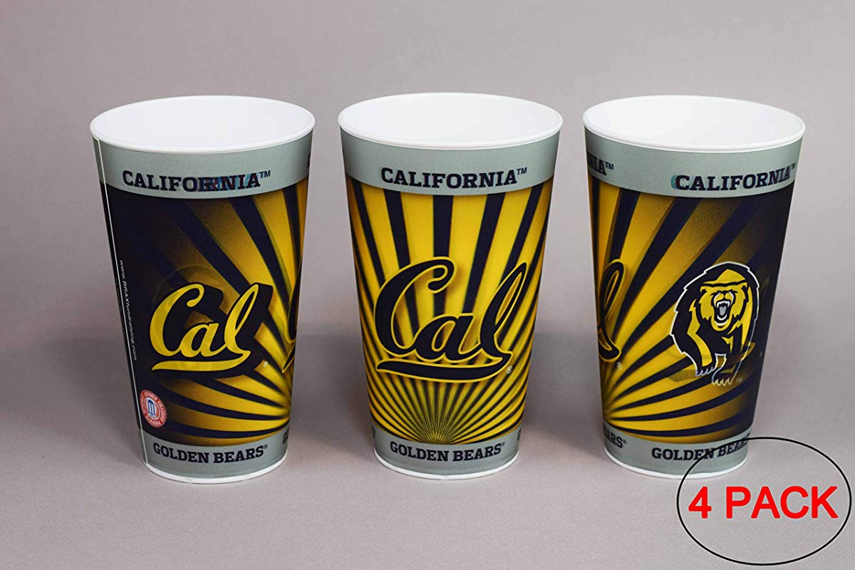 University Of California Berkeley Cal Golden Bears Plastic Cup Holographic 22oz Pack Of 4 Tailgating Tumbler Cups Dishwasher Safe BPA Free