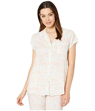 Eileen West Rayon Woven Short Sleeve Notch Collar Capri Pajama (White Ground Multi Floral) Women