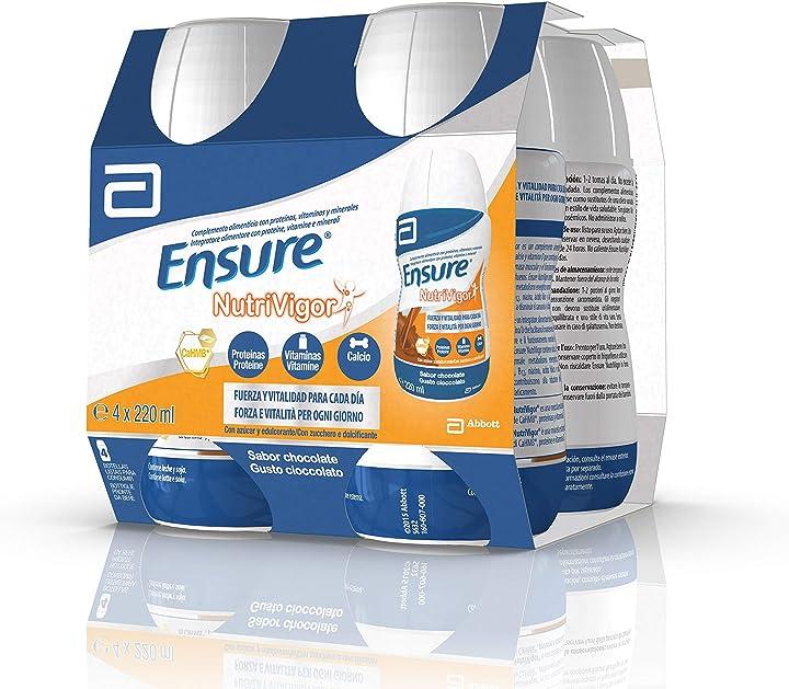 ensure nutrivigor integratore multivitaminico con 27 vitamine e minerali  proteine | confezione 4x220ml choco 100s6321e4169