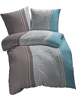 etérea Mikrofaser Bettwäsche - Urban Stripes - allergiker geeignet, Farbe: Blau, Grau, Braun- im klassischen Stil & gestreiften Look- 2 teilig - 135x200 cm  80x80 cm.