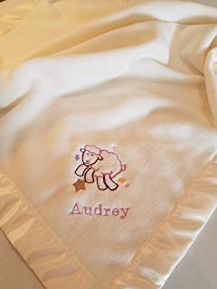 Personalized Fleece Baby Blanket With Embroidered Sheep