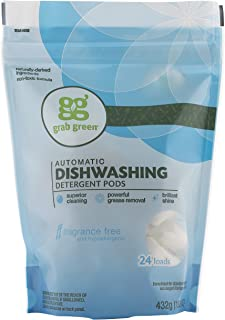 Grab Green Natural Dishwasher Detergent Pods, Fragrance Free, Organic Enzyme-Powered, Plant & Mineral-Based, Free & Clear/...