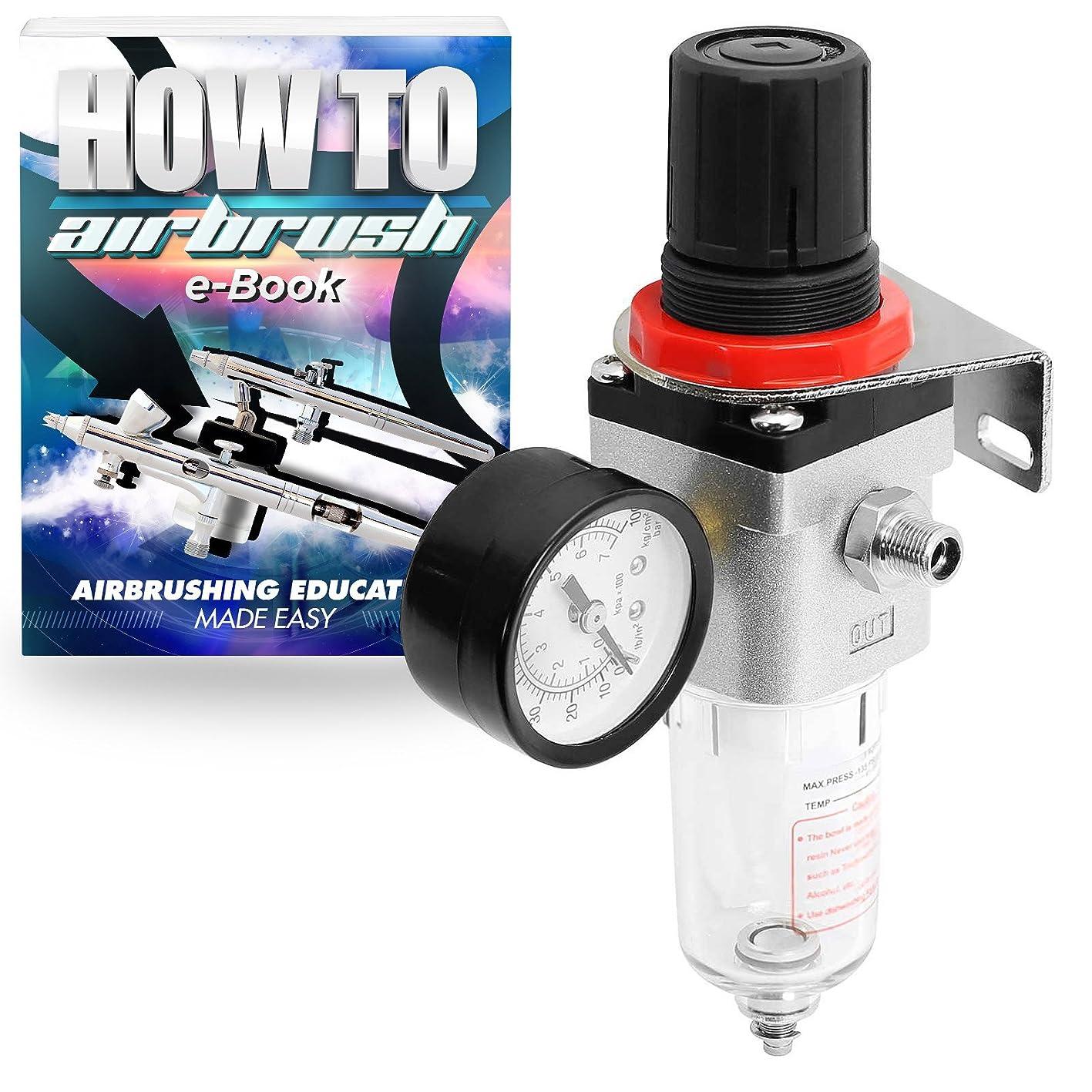 PointZero Pro Airbrush Air Compressor Regulator with Water-Trap Filter xifossmzfgx890
