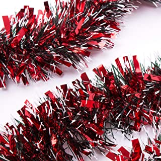 SANNO Christmas Tinsel Garland Thick and Full Tinsel Sparkly Classic Party Ornaments Hanging Xmas Christmas Tree Ceiling Decorations, 6.6 ft 4 inch Wide Each, Red