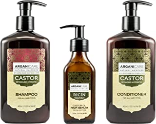 Arganicare Castor Oil Shampoo & Conditioner 13.5 oz, Hair Growth Serum 3.4 oz combination pack-certified Organic Castor Oil, Argan & Jojoba Oil for healthy hair growth, strengthens, restores, hydrates