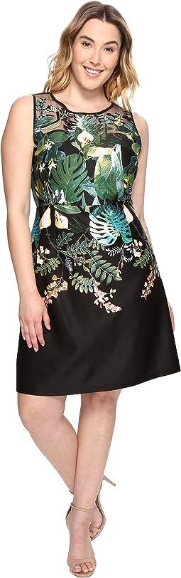 Plus Size Leafy Oasis Scuba A-Line Dress with Laser Cut Neckline