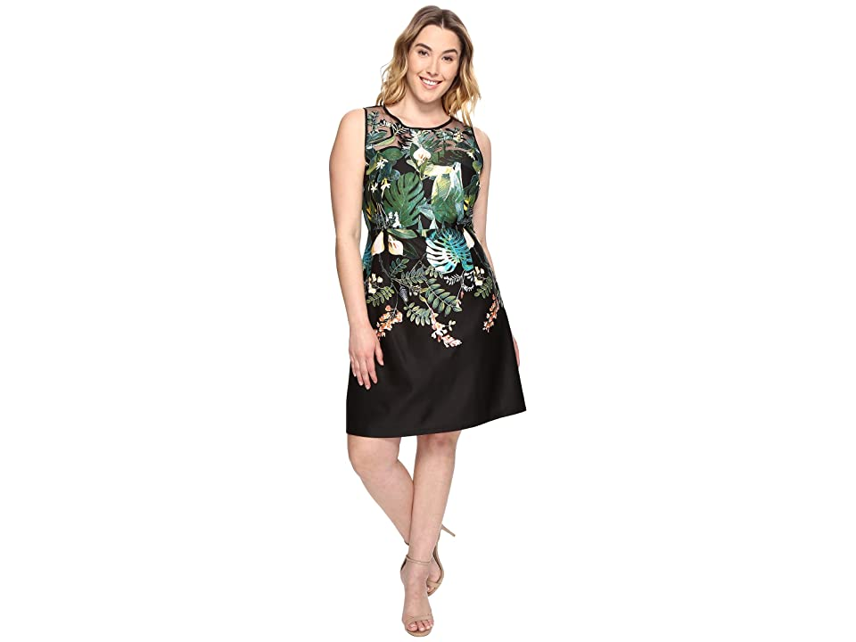 Adrianna Papell Plus Size Leafy Oasis Scuba A-Line Dress with Laser Cut Neckline (Black Multi) Women