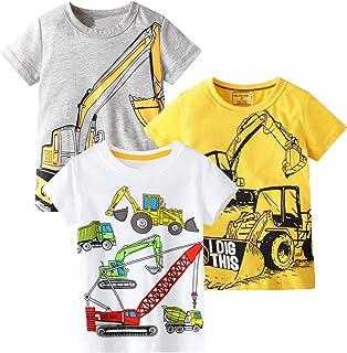 Camiseta de verano de manga corta cuello redondo de algodón casual gráfico de dibujos animados Tops camiseta 3 paquetes co...