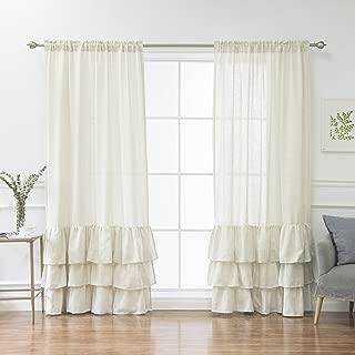 Best Home Fashion Linen Blend Ruffle Curtains - Rod Pocket - 52