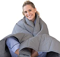LUNA Weighted Blanket (17 lbs - 60x80 - Queen Size) – Organic Cooling Cotton & Premium Glass Beads – Designed in USA – Heavy Cool Weighted Blanket for Hot & Cold Sleepers – Kids or Adult – Dark Grey
