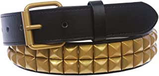"""1 1/4"""" (33 mm) Snap On Two Row Punk Rock Star Brass Studded Leather Belt"""