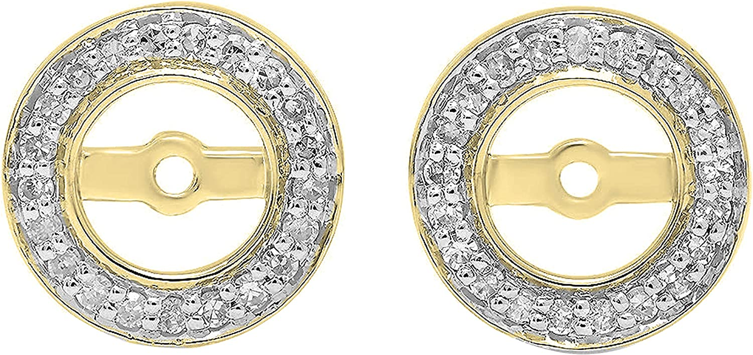 Dazzlingrock Collection 0.20 Carat (ctw) 18K Gold Round White Diamond Removable Jackets For Stud Earrings 1/5 CT