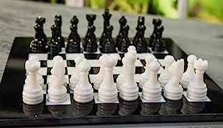 Radicaln Handmade Black and White Full Marble Chess Board Game Set - Staunton Marble Tournament Two Players Full Chess Gam...
