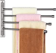 HOMEIDEAS Swing Out Towel Bar SUS304 Stainless Steel 4-Bar Folding Arm Swivel Hanger Bathroom Storage Organizer Wall Mount Towel Rack,Brushed Finish