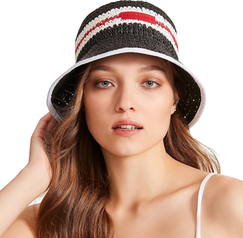 Steve Madden Women's Crochet Straw Striped Bucket Hat with Logo Patch, Black/White, ONE Size