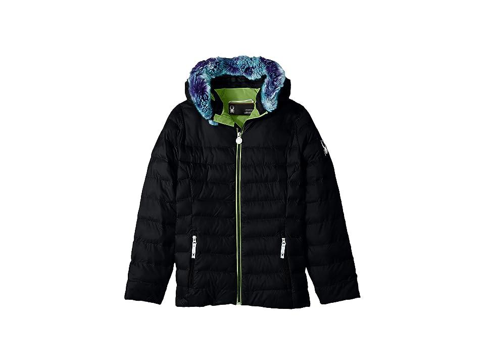 Spyder Kids Timeless Hoodie Faux Fur Down Jacket (Big Kids) (Black) Girl
